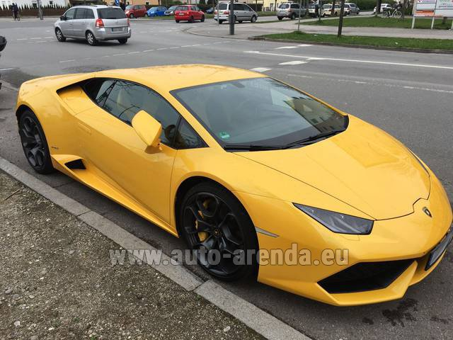 Rental Lamborghini Huracan LP 610-4 Yellow in Glasgow