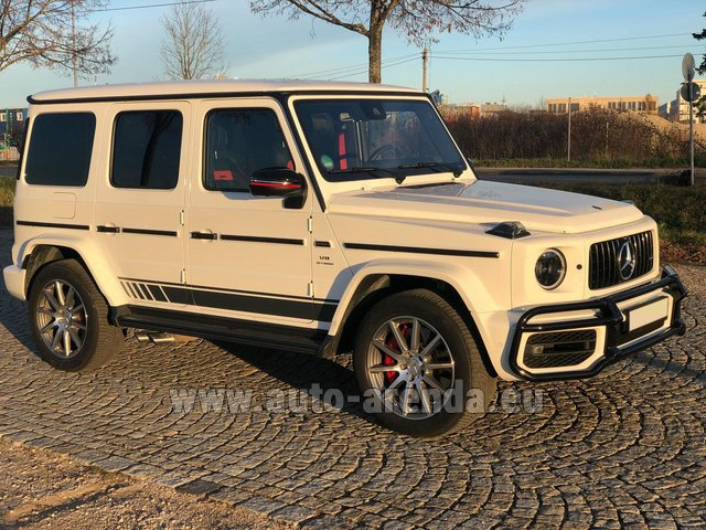 Hire and delivery to London Heathrow Airport the car Mercedes-Benz G 63 AMG White